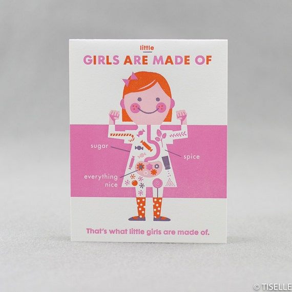 Letterpress Card, Girls Are Made Of