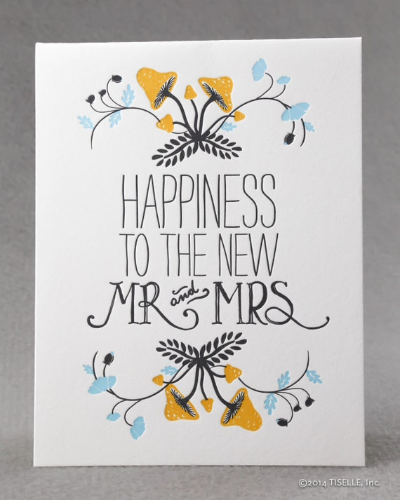 Priority Mail Letterpress Wedding Card, Happiness to the new Mr. and Mrs.
