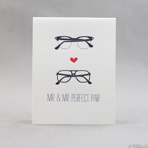 Letterpress Wedding Card, Mr. and Mr. Perfect Pair