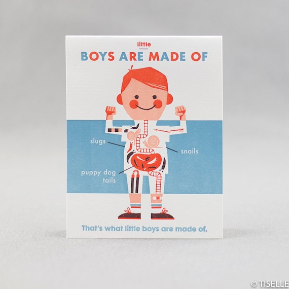 Letterpress Card, Boys Are Made Of