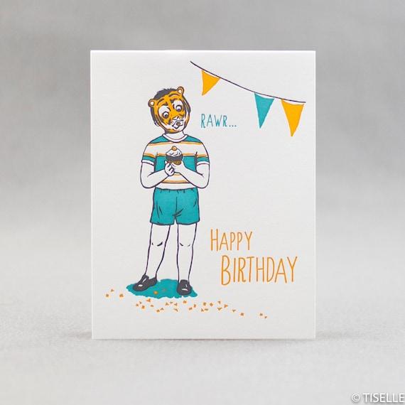 Letterpress Birthday Card, Cupcake Boy