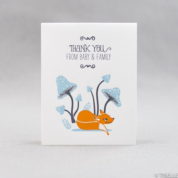 Set of 6 Letterpress Baby Thank You Cards, Baby Fox and Family