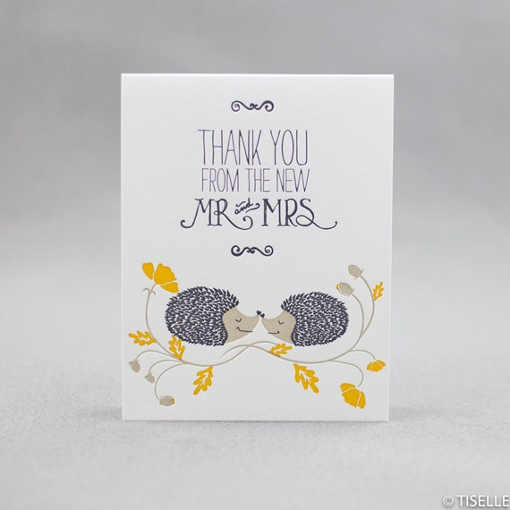 Letterpress Thank You Cards, Mr. and Mrs. Hedgehog