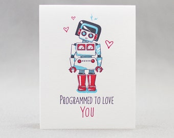 Letterpress Love Card, Robot Love