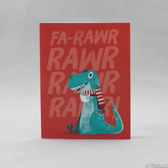 Set of 6 cards, Offset Christmas Card, fa-Rarw Rawr Dino