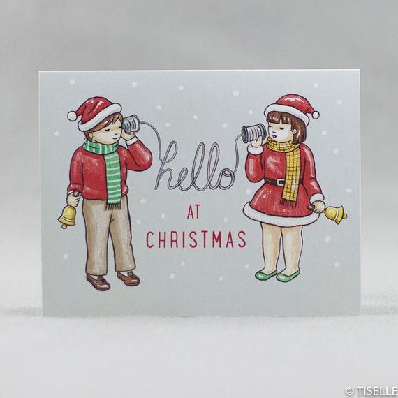 Set of 6, Offset Christmas Card, Hello at Christmas