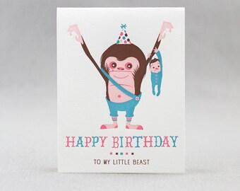 Letterpress Birthday Card, My Little Beast (boy)