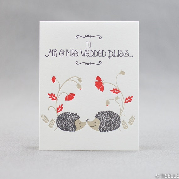 Letterpress Wedding Card, Mr. & Mrs. Wedded Bliss