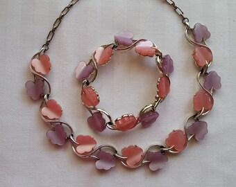 Vintage Pink & Mauve Leaf Thermoset Demi Parure - Necklace, Bracelet