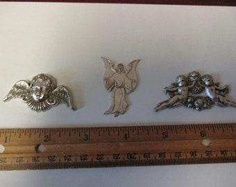 Lot of 3 Angel Shapes Silvertone Charm Treasures Angels Shaped