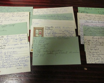 Lot of 15 Handwritten Recipe Cards Kitchen Used Condition M34 Sweets