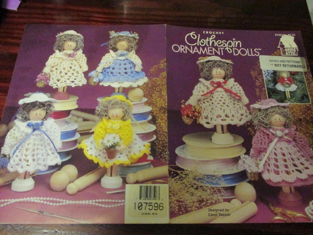 Muñeca Crochet patrones pinza ornamento muñecas Annies Attic