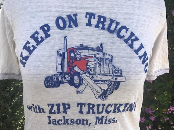 "Vintage 1970s distressed ringer t-shirt ""Keep On T"