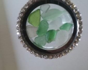 Sea Glass Beach Glass Locket Green/ White