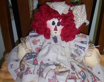 PRIMITIVE HANDMADE Raggedy Ann Doll/FolkArt/Handpainted/OOAK
