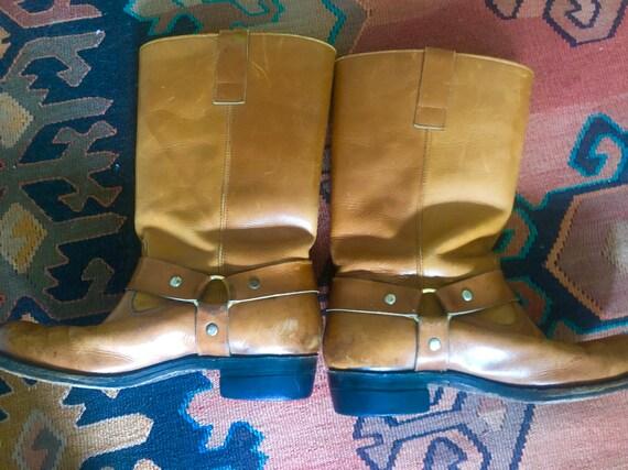 Vintage 70s biker harness boots