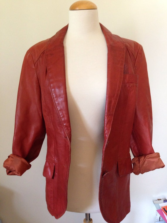 Quinn Vintage 70's leather blazer jacket brown ru… - image 2