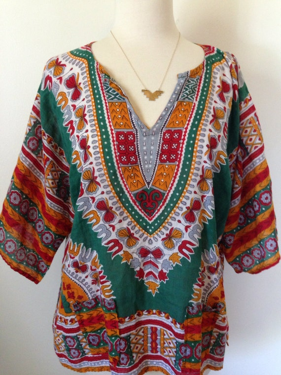 Bijou Vintage African Daishiki 70's Hippie Shirt