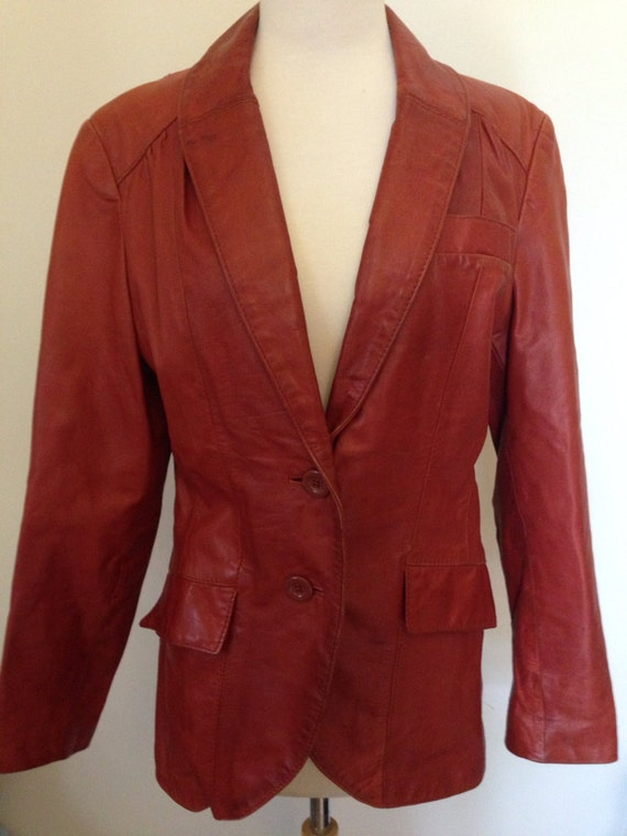 Quinn Vintage 70's leather blazer jacket brown ru… - image 1