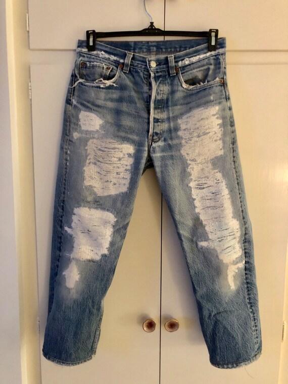 Vintage custom destroyed 70s Levis jeans
