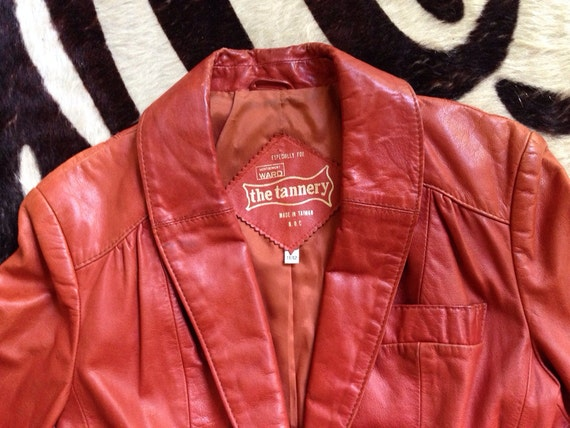 Quinn Vintage 70's leather blazer jacket brown ru… - image 4