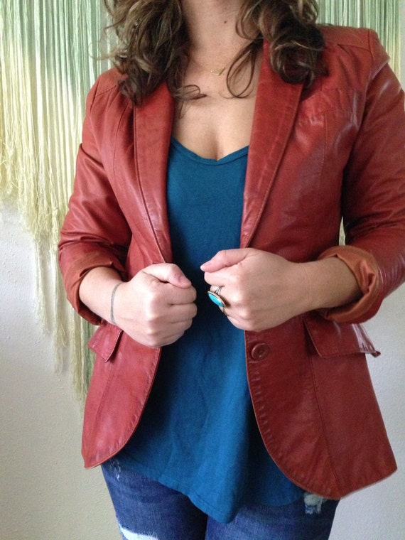Quinn Vintage 70's leather blazer jacket brown ru… - image 3