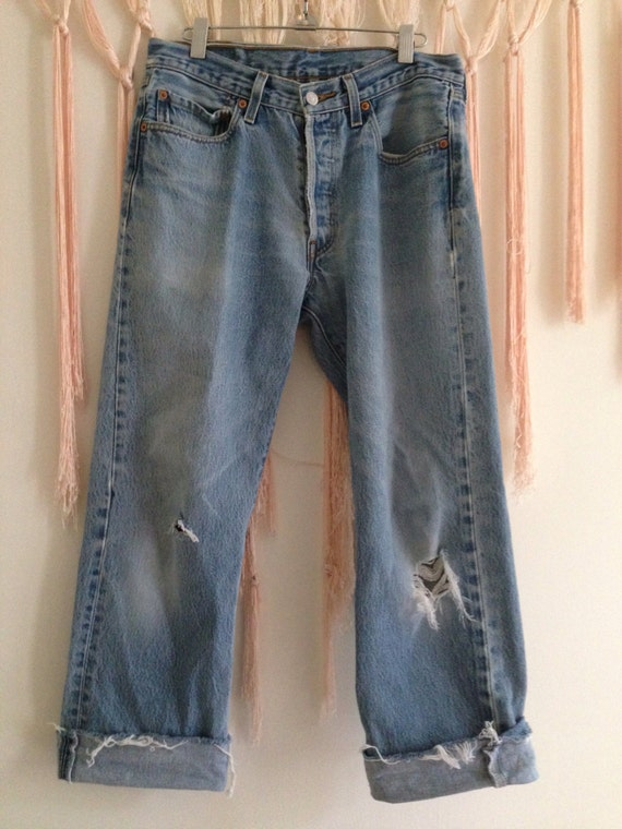 Vintage 1970's destroyed Levi's 501 raw edge jeans