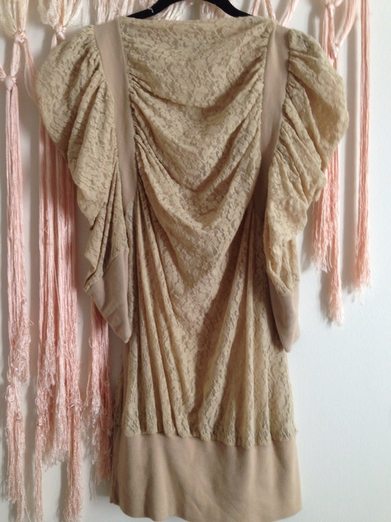 Vintage Lace Puff Sleeve Nude Blouse Tunic Dress