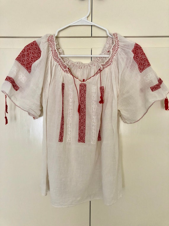 Vintage Embroidered Hungarian peasant blouse