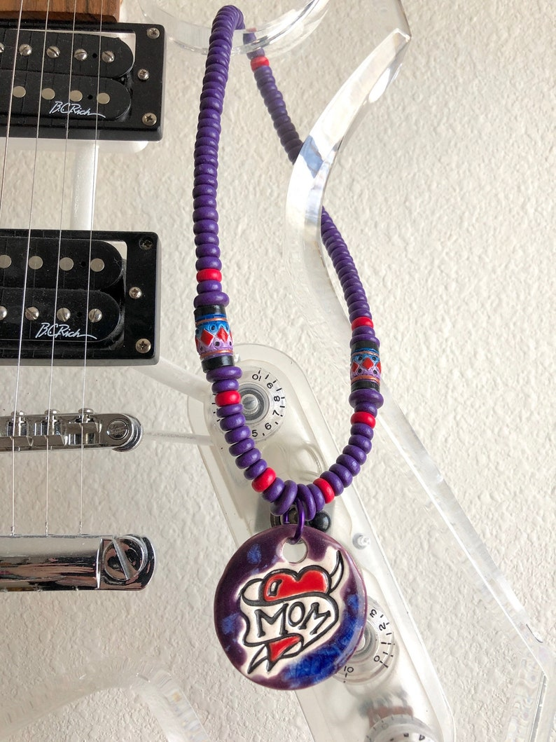 She gets Me by Bridges MOM Ceramic Tattoo Style with Purple and Red Heishi and Puca Shell Clasp