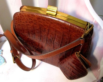 Crossbody Leather Bag,1950s Faux Alligator Purse with small Coin Pouch Very Classy