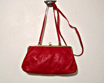 Leather Clutch, Red Clutch, Red Shoulder Bag, Red Leather Bag, Italian Leather Bag, Clutch and Coin Purse