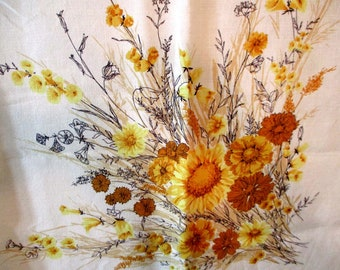 """Retro Tablecloth, Cotton Tablecloth, Cheerful Bouquets of Flowers, Casual Dining, 50""""x 50"""""""