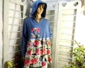 Hooded Sweatshirt Tunic Top Long Sleeve and Pocket Upcycled Knit Tunic Roomy tunic/tee
