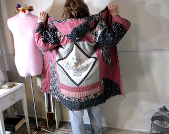 Quiltwork Coat Hooded Reversible Coat, Patchwork Upcycled Recycled Coat, Vintage Quilt Coat, Reversible
