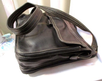 Leather Bag, Leather Cross Body Bag, Black Leather Fossil Bag