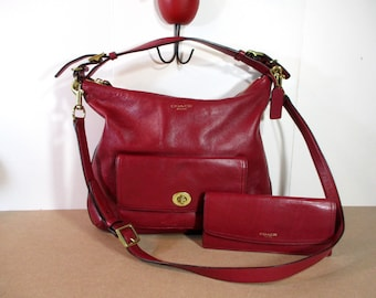 COACH Bag & Wallet, Raspberry Red Coach, Leather Purse and Leather Wallet, Leather Bag with matching Leather Wallet