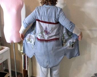 Denim Jacket Duster, Patchwork, Upcycled Embellished, Gypsy Hippie Boho Festival