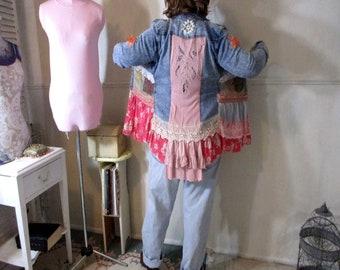 Denim Jacket Duster, Patchwork, Upcycled Embellished, Hippie Boho Festival