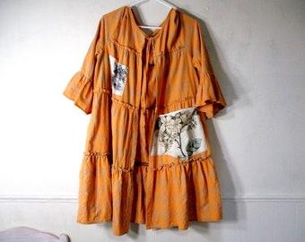 Duster, Long Jacket, Tattered, Shabby, Raw, Eco Earth Friendly, Upcycled Clothing, Oversize and Loose, Ruffle Jacket