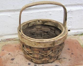 Vintage Woven Basket Vintage Miniature Basket With Handle