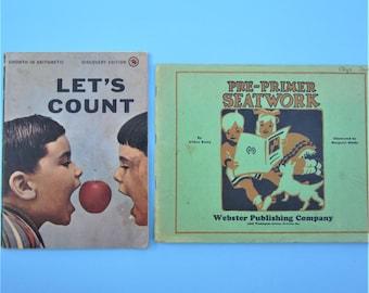 Vintage Educational Books Vintage Let's Count Pre Primer Seatwork Books 1931 and 1953