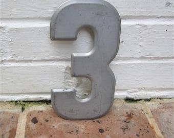 Antique Vintage Metal Number Numbers Number Three Industrial Number