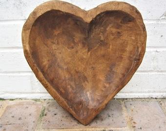 Vintage Wooden Bowl Primitive Wooden Heart Shaped Bowl