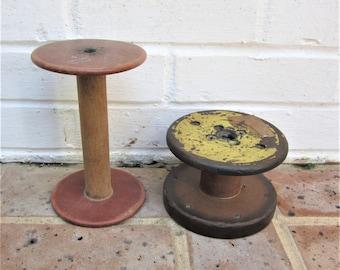 Antique Vintage Industrial Wooden Spools Wooden Bobbins Wooden Sewing Spools