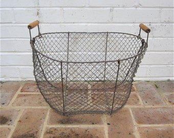 Antique Vintage Metal Basket Wire Basket Industrial Basket Primitive Basket With Wooden Handles Egg Basket Farmhouse Find