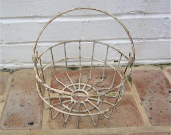 Antique Vintage Metal Basket Wire Basket Industrial Basket Primitive Basket With Metal Handle Egg Basket Farmhouse Find