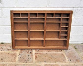 Vintage Knick Knack Shelf Printers Wooden Tray Antique Vintage Printers Drawer Vintage Shadow Box 24 Spaces