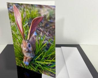 Bunny Greeting Card, Big-Ear Rabbit, Wild Hare lying down, 5x7 inch Portrait or Vertical Original OOAK Art Card