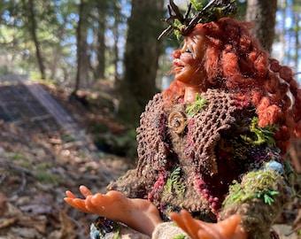 Elf art doll, Avani the Earth elven fae figurine, handmade in Nova Scotia